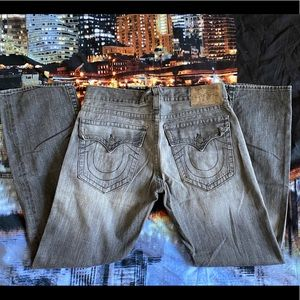 True religion gray jeans 34x32 acid wash